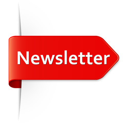 Langer roter Sticker Pfeil – Newsletter
