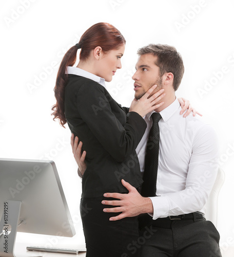 young beautiful coworkers having affair.