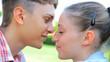 Closeup of beautiful couple kissing