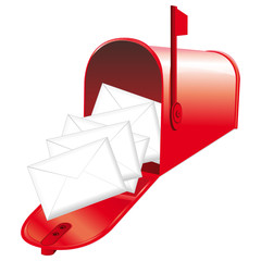Red mailbox filled with lettres.