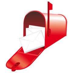 Red open mailbox icon.
