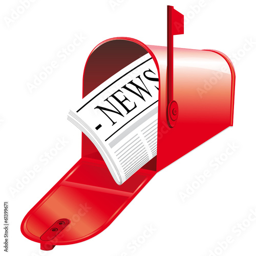 Red open mailbox with newspaper inside.
