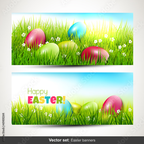 Set of two horizontal Easter banners