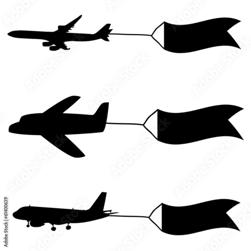 airplane with flags vector illustartion