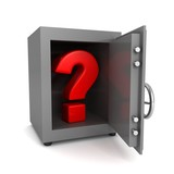 red question mark in open steel banking safe