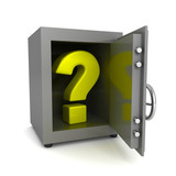green question mark in open steel banking safe