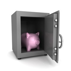 piggy money bank in steel banking safe