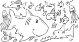 Cute Sea Creatures Doodle set Vector Illustration Art