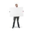 Businessman holding a big card