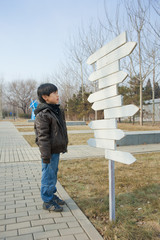 Child looking for direction