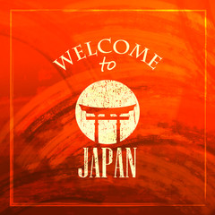 illustration with Japanese gate icon. welcome to Japan