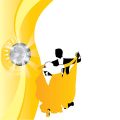 vector background couple dancing in yellow