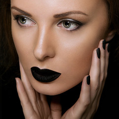 Make up of beautiful woman. Beauty Black Lip Makeup