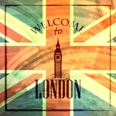 illustration with big ben icon. welcome to London