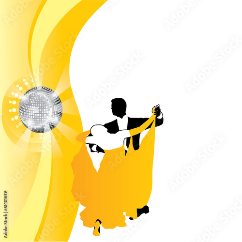 vector background couple dancing in yellow