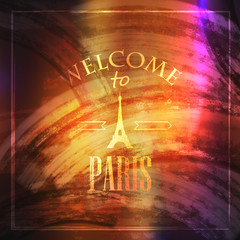 illustration with Eiffel tower. welcome to Paris