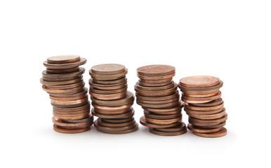 piles de pièces d'euro
