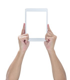 White tablet with blank screen on hands, clipping path