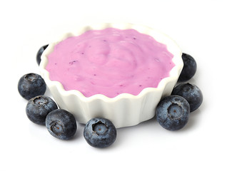 yogurt with berry isolated