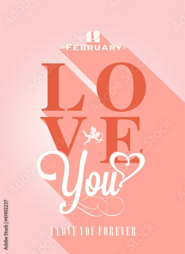 Happy Valentine's Day Hand Lettering - Typographical Background