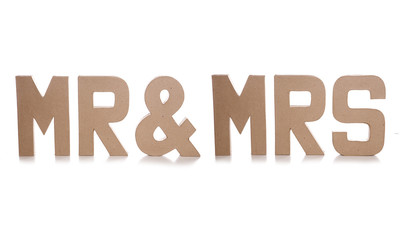 mr & mrs decoupage letters