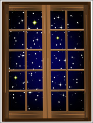 Starry sky outside the window