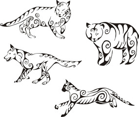 predator animals in tribal style
