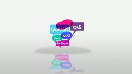 Foire aux questions qui quoi comment bulles colorés animation