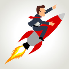 Simple cartoon of a businessman on a rocket
