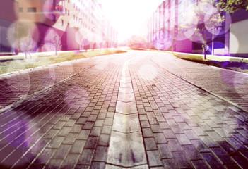 Imagen abstracta de ciudad y suelo de adoquines