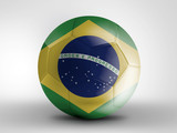 Soccer ball with Brazil flag isolated on white