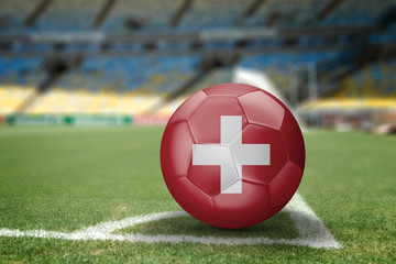 Swiss soccer ball on the soccer field
