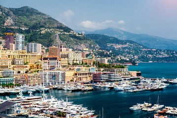 Cityscape and harbour of Monte Carlo. Principality of Monaco