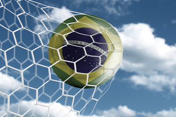 Soccer ball with the brazil flag