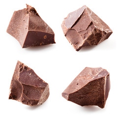 Chocolate pieces isolated