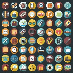 Set of 64 Flat Quality Travel Map Icons