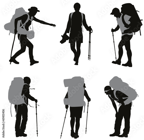 People with backpack vector silhouettes set