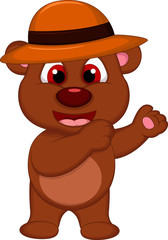 cute brown bear cartoon with hat posing