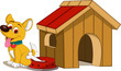dog cartoon and house