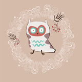 Holiday illustration with white owl - 61404424