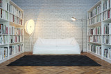 Moden Interior Room With White Sofa (Office Or Library)