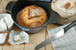 Home made bread baked in iron pot