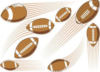 Flying american football ball