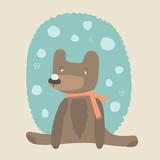 Cute bear and snow - 61404893