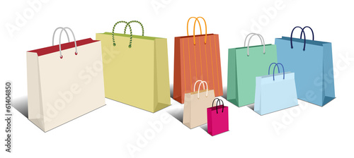 Retro Shopping Bags, Carrier Bags Icons Symbols