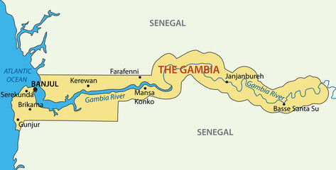 Republic of the Gambia - vector map