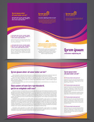 Trifold beauty violet brochure print template