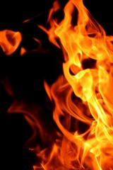 fire flame on black background