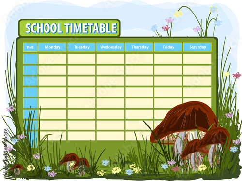 School timetable. Vector background