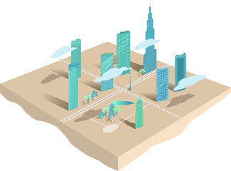 Modern city conceptual map or model